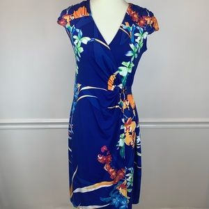 Alfani vibrant floral print wrap design dress